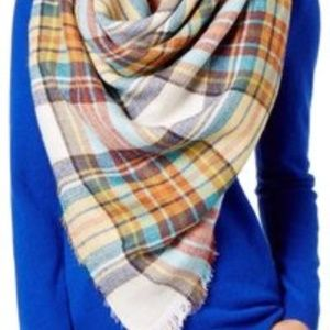 Steve Madden | multi color plaid blanket scarf